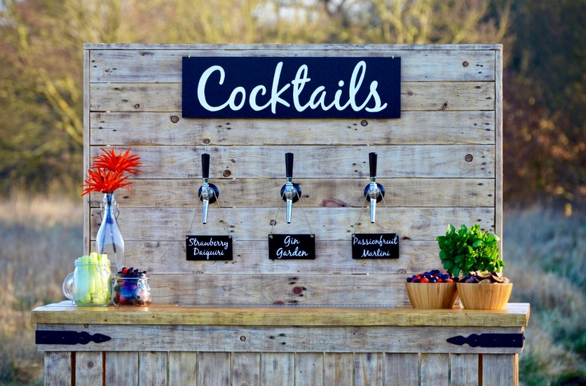 Self serve cocktail bar at a rustic wedding